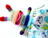 rabbit toy amigurumi crochet doll rainbow .. merriwether