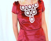 Ritzgerald Dress SMALL-MEDIUM Crimson Velvet & Vintage Crochet Doily, rework, one of a kind, handmade, vintage, eco friendly, formal