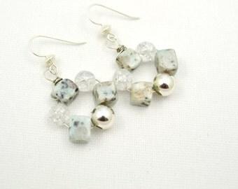 Semiprecious Stone Jewelry, Jasper Earrings, Gemstone Earrings, Semi Precious Stone Earrings, Chunky Earrings, Aqua Light Blue, Sterling Sil
