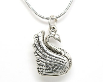 Swan Sterling Silver Bird Pendant Charm Customize no. 1901
