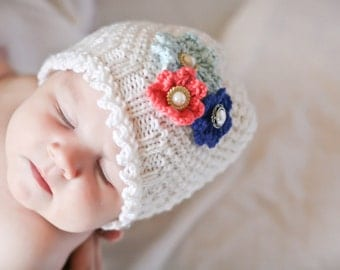 Lacy Dainty Flower Beanie - Knitting PATTERN - pdf format for newborn, infant, toddler, child, teen and adult