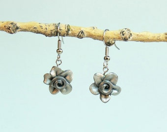 Rose Floral Earrings - 3CC - Shining Silver - Polymer Clay - (DAYSTAR) Katherine Kowalski jewelry