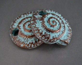 Nautilus Shell Charms Pair Spirals Fibonacci Mykonos Greek Copper Antiqued Green Turquoise Naos