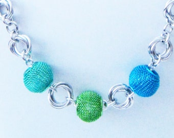 Turquoise Green Blue Metal Bead Mobius Chainmaille Necklace Handmade