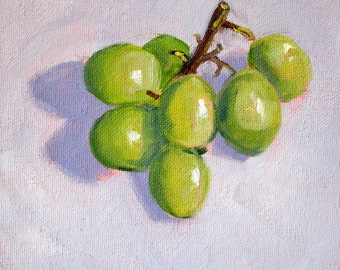 Fruit Still Life Painting, Small Original on Canvas, 6x6 Green Grapes, Kitchen Art, Wall Decor, Minimalist Square Format Oil Painting