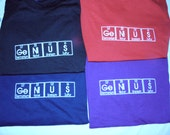 GeNiUS T-shirt Embroidered in Periodic Table Letters Short Sleeve T   Made to Order