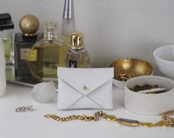 Winter White Shagreen leather handmade business card holder