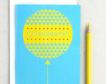 Congratulations Card - Congrats Graduation Card - Geometric Balloon Blank Card