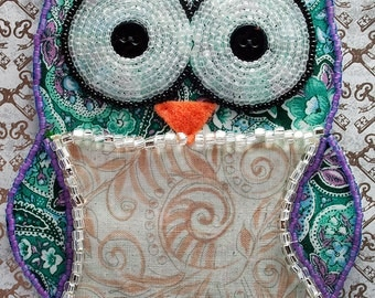 Bead Embroidered Owl // Green and Purple // Paisley // Mixed Media