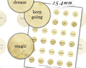 Inspirational Words No. 2 digital collage sheet 1 inch rounds circle sepia natural 25.4mm