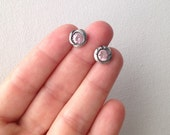 Rustic Pink Sapphire Sterling Silver Post Earrings- Made to Order