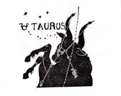 Taurus Constellation Linocut in Black and White - Constellations of the Zodiac Lino Block Print Collection - Taurus the Bull