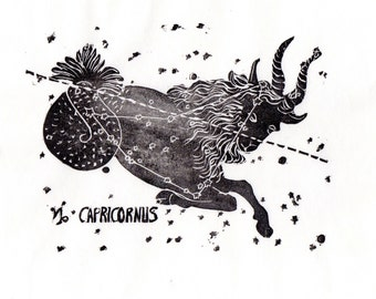 Capricorn Constellation Linocut in Black and White - Constellations of the Zodiac Collection, Capricorn the Fish-tail Goat