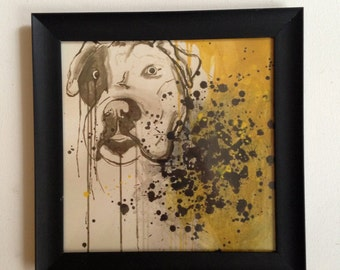 pet portrait print in black, white, yellow, framed dog art, abstract dog painting with drips, modern bulldog face, animal rescue donation