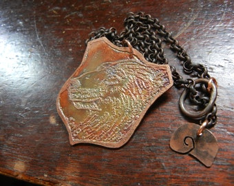 Etched copper Polar Bear pendant   One of a kind Etched Menagerie victorian art jewelry