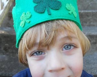 Green Felt Shamrock Crown