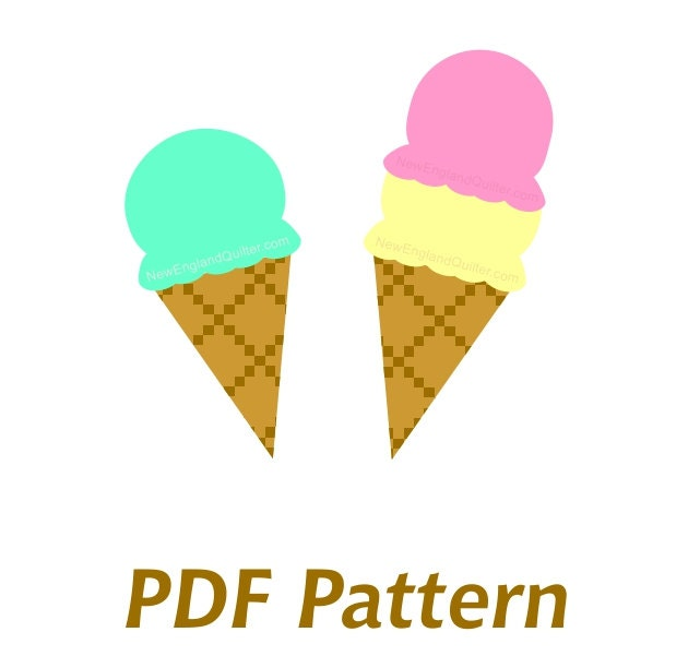 Ice cream cone applique pdf sewing pattern quilt block zoom pronofoot35fo Choice Image