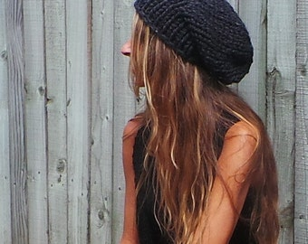 Gray Slouchy beanie, chunky hat, holiday gift, READY TO SHIP