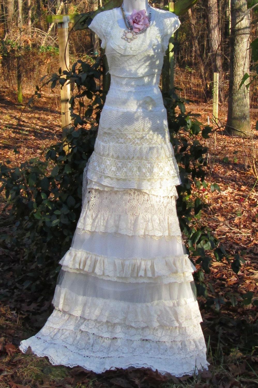Cream Wedding Dress Vintage Lace Rose Mermaid Romantic Small