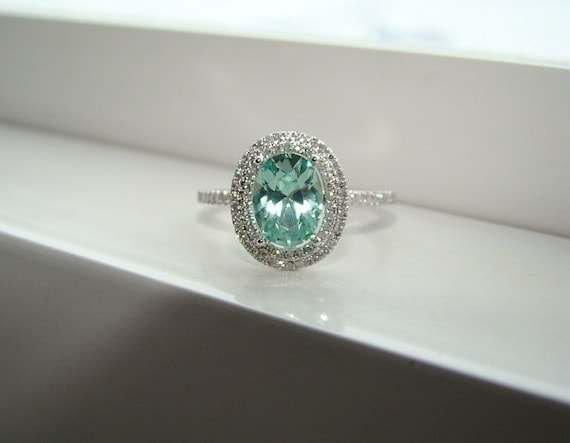 Oval Halo Mint Blue Green Garnet Diamond Ring Gemstone Engagement Ring  Wedding Custom Cushion Oval Halo
