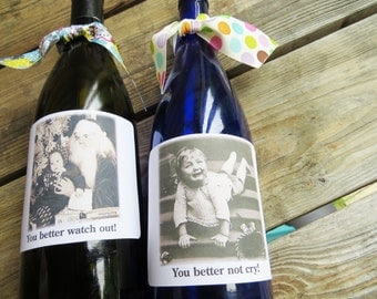 Funny Christmas Wine or booze Labels . Set of 6 Vintage images. Christmas Stickers XMAS2