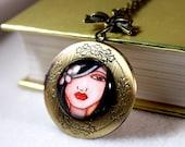 Antique Gold Locket, Hawaiian Flower Girl Art Print, Bronze Jewelry, Shabby Chic Victorian Charm Necklace, Art Pendant, Black Red