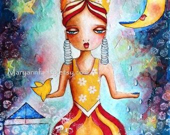 Nautical Art Print, 8 x 10 or 5 x 7 Whimsical Art, Mixed Media, Female Woman Girl Art, Ocean Beach Shore Art, Blue Yellow Red