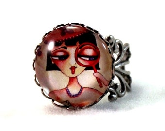 Antique Silver Ring, Storybook Detective Girl Art Adjustable Ring Spy Girl Silver Victorian Jewelry, Pink Red Teen Woman Friend Gift