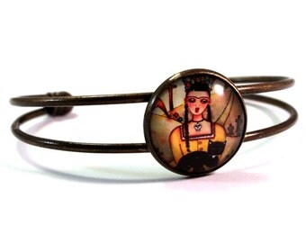 Frida Bracelet, Bronze Cuff, Mexican Frida Art Print, Black Cat Art, Antique Gold Cat Jewelry, Black Yellow, Gift Bracelet Teen Woman Friend