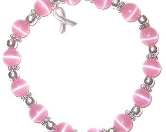 Stretchy Packaged Breast Cancer Awareness Bracelet- 8mm