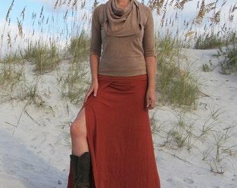 ORGANIC Faux Wrap Long Skirt (light hemp/organic cotton knit) organic skirt :
