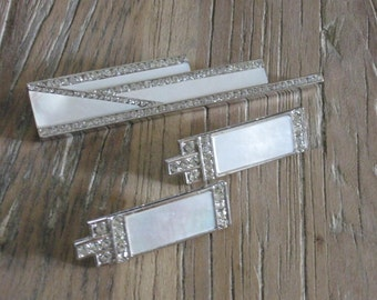 1980s Yamada Tokyo Art Deco Inspired Mother of Pearl & Rhinestones Brooch with Clip On Earrings Set