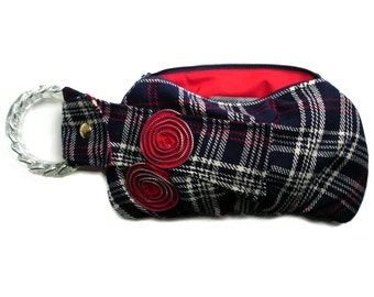 Wool Plaid Wristlet - Bracelet Handbag Navy, Red, and White