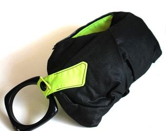 Neon Yellow-Green & Black Bracelet Wristlet Purse