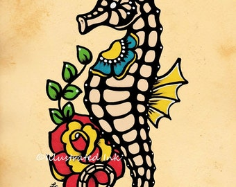Old School Tattoo SEAHORSE Flash Art Print 5 x 7, 8 x 10 or 11 x 14