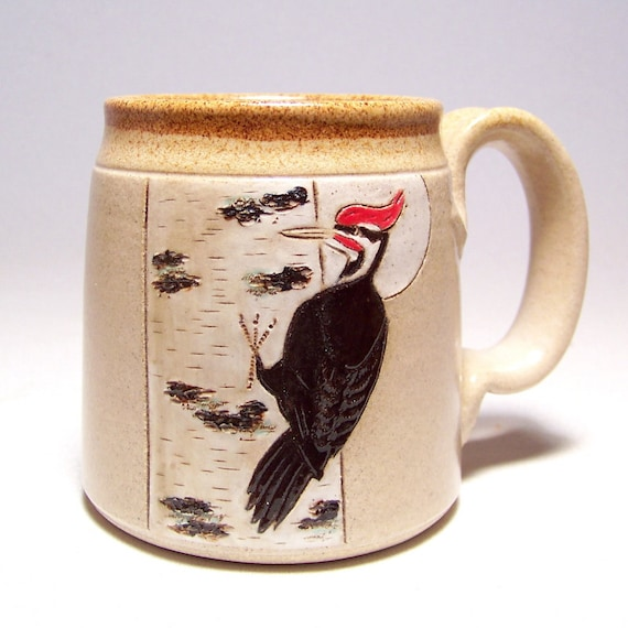 Pileated Woodpecker and Birch Pottery Mug  Limited Series 178 (microwave safe) 12oz