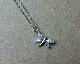Dainty CZ Dragonfly Necklace.  Sterling Silver Gift for Her.