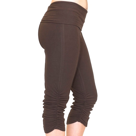 Yoga Capri Pants, cropped and ruched leg with fold over waistband - YOGINI CAPRIS - bloomers, dancewear