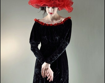 Fantôme Rouge Hat by Kambriel - Dramatic Edwardian Style with Translucent Red Bias Ruffles - Designer Sample - Ready to Ship!