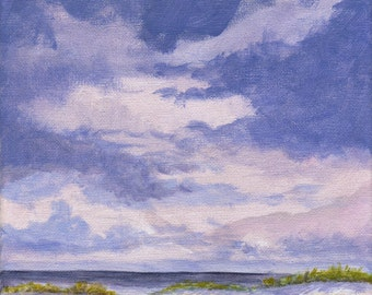 Orignal Landscape Painting - Clouds and Sand Dunes Sky Beach Summer Vacation 8x8