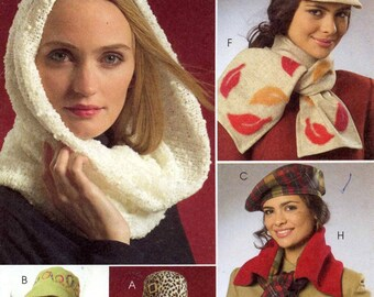 Autumn Hat Scarf mittens Accessories Sewing pattern McCalls 5541 One size