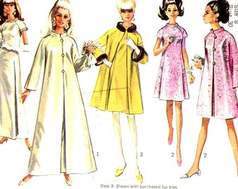 Mod Wedding dress and coat and 60s bridesmaid dresses maxi or knee length vintage sewing pattern Simplicity 7283 sz 8 Small petite