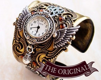 Wings of Time Steampunk Watch // Mens and Womens Brass and Silver Wings Cuff // SteamPunk Jewelry
