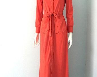 Vintage 70s Lounge Dress Bright Orange s