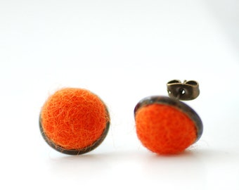Stud Earrings, Felted Wool Earrings, Orange Studs, Fibre Jewelry, Post Earrings, Neon Earrings, Dark Orange Earrings, Antiqued Brass Studs