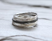 Sterling Silver Stacking Ring. 16 Gauge Oxidized or Shiny Simple Textured Ring. Made To Order