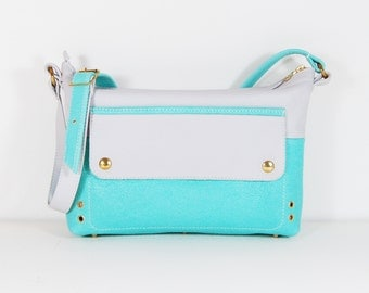 Eloise - Handmade Mint Green & Grey Leather Shoulder Bag Purse