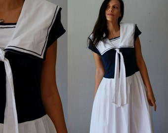 vintage 1980s SAILORETTE nautical midi length day dress