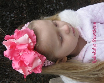 Double Ruffle Hair bows, Valentines Day headband, Baby Headband, Valentines Day baby, Pink Headband, Jumbo hair bows, Hair bows for girls