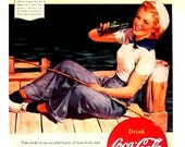 Coke Ad - Here's The Way to feel Refreshed - 1990's Reproduction Vintage Book Page 9 x 12